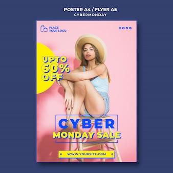 Modèle d'affiche pour les achats du cyber lundi