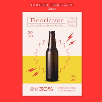 Modèle d'affiche pour les amateurs de bière