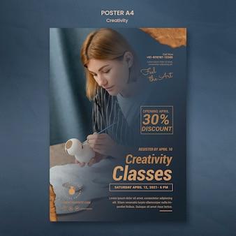 Modèle d'affiche pour un atelier de poterie créative avec une femme