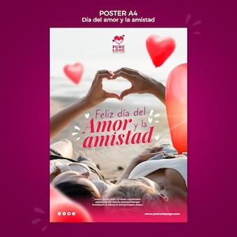 Modèle d'affiche pour la célébration de la saint-valentin