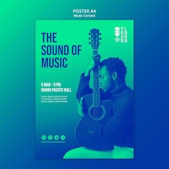 Modèle d'affiche pour un concours de musique live avec un artiste