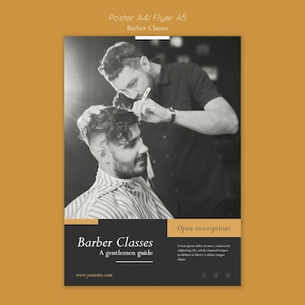 Modèle d'affiche pour les cours de coiffeur