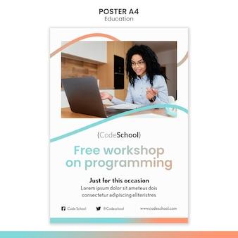 Modèle d'affiche pour l'école de programmation en ligne