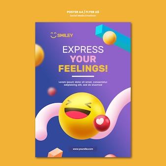 Modèle d'affiche pour les émoticônes d'applications de médias sociaux