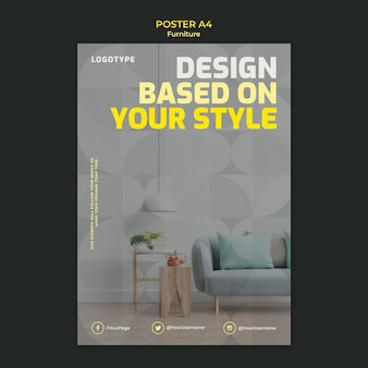 Modèle d'affiche pour une entreprise de design d'intérieur