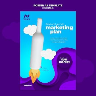 Modèle d'affiche pour entreprise de marketing avec produit