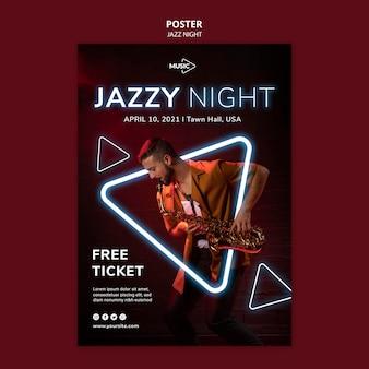 Modèle d'affiche pour l'événement de nuit de jazz au néon