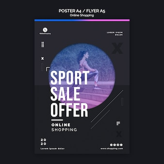 Modèle d'affiche pour faire du shopping en ligne