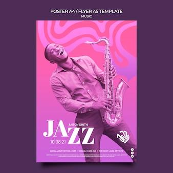 Modèle d'affiche pour festival et club de jazz