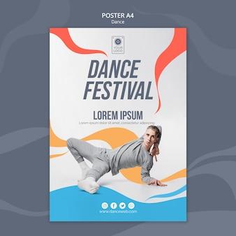 Modèle d'affiche pour le festival de danse avec interprète