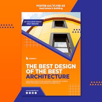 Modèle d'affiche pour l'immobilier et la construction