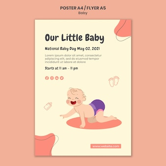 Modèle d'affiche pour la journée internationale du bébé