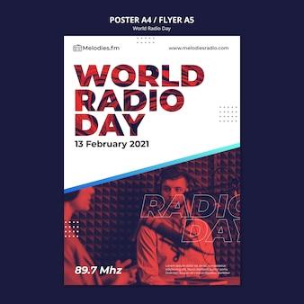 Modèle d'affiche pour la journée mondiale de la radio avec un diffuseur masculin