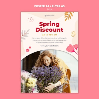 Modèle d'affiche pour magasin de fleurs avec des fleurs de printemps