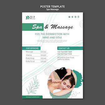 Modèle d'affiche pour massage spa avec femme