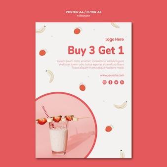 Modèle d'affiche pour milkshake aux fraises