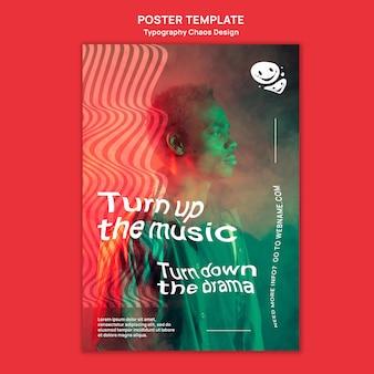 Modèle d'affiche pour la musique avec l'homme et le brouillard