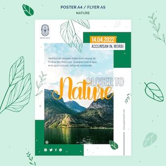 Modèle d'affiche pour la nature avec le paysage de la vie sauvage