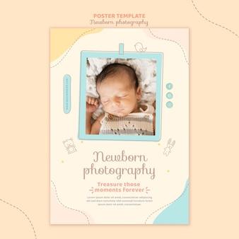 Modèle d'affiche pour nouveau-né somnolent vue de dessus