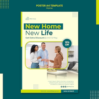 Modèle d'affiche pour la nouvelle maison familiale