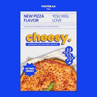 Modèle d'affiche pour une nouvelle saveur de pizza au fromage