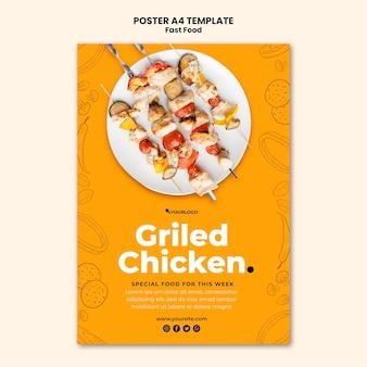 Modèle d'affiche pour plat de poulet frit