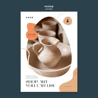 Modèle d'affiche pour la poterie avec des récipients en argile