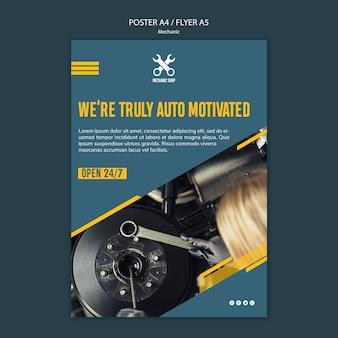 Modèle d'affiche pour la profession de mécanicien
