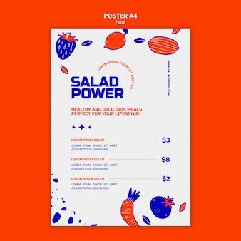 Modèle d'affiche pour la puissance de la salade