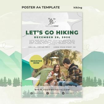 Modèle d'affiche pour la randonnée dans la nature
