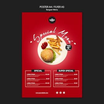 Modèle d'affiche pour restaurant burger