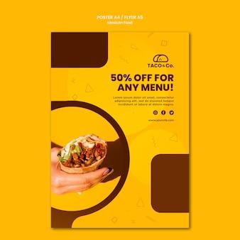 Modèle d'affiche pour un restaurant de cuisine mexicaine