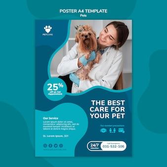 Modèle d'affiche pour les soins des animaux de compagnie avec une femme vétérinaire et un chien yorkshire terrier