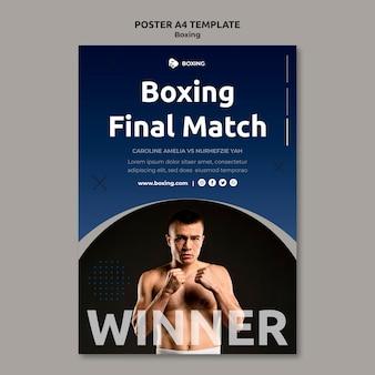 Modèle d'affiche pour le sport de boxe avec un boxeur masculin