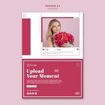 Modèle d'affiche pour le téléchargement de photos sur les réseaux sociaux
