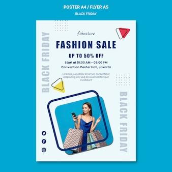 Modèle d'affiche pour le vendredi noir avec femme et triangles