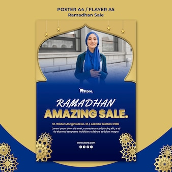 Modèle d'affiche pour la vente du ramadan