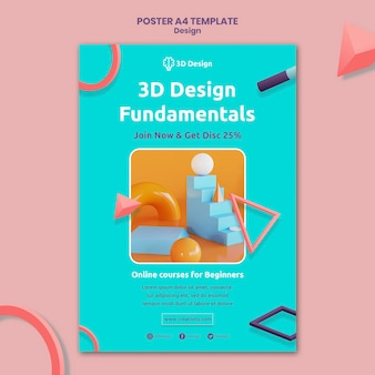 Modèle d'affiche de principes fondamentaux de la conception 3d