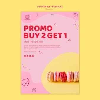 Modèle d'affiche promo macarons