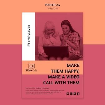 Modèle d'affiche de promotion d'appel vidéo