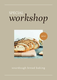Modèle d'affiche psd d'atelier spécial pour le marketing de la boulangerie et du café