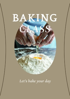 Modèle d'affiche psd de cours de pâtisserie pour le marketing de la boulangerie et du café