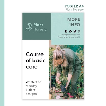 Modèle d'affiche publicitaire de pépinière de plantes