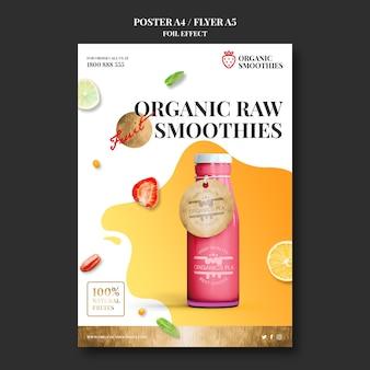 Modèle d'affiche publicitaire de smoothies bio