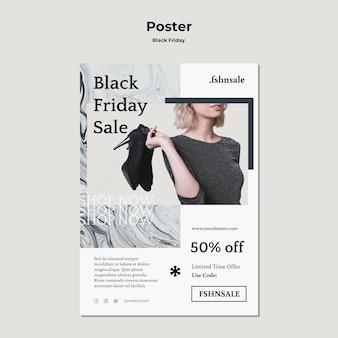 Modèle d'affiche publicitaire vendredi noir