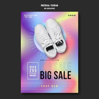 Modèle d'affiche publicitaire de vente de baskets