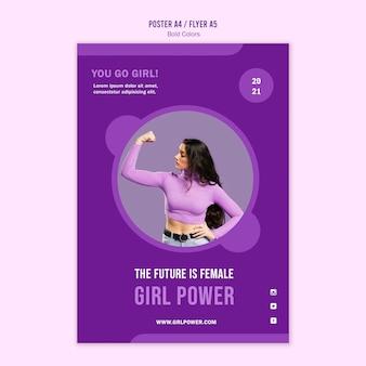 Modèle d'affiche de puissance de fille