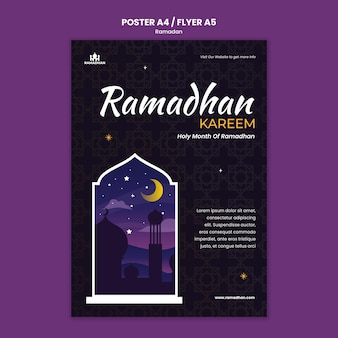 Modèle d'affiche ramadan illustré