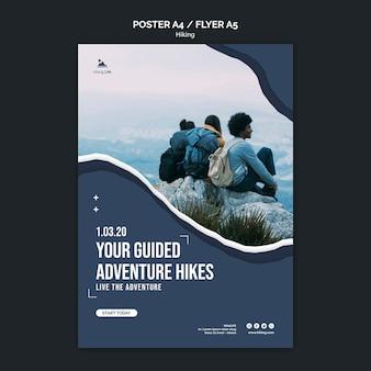 Modèle d'affiche de randonnée