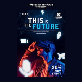 Modèle d'affiche de réalité virtuelle futuriste